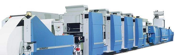 Eine AlprintaV-Hybridmaschine mit vier Offsetdruckwerken und einem Flexowerk. Ein Druckzylinderwechsel am stufenlos formatvariablen AlprintaV-Druckwerk ist in nur zwei Minuten bewerkstelligt.