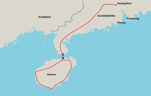 Mit der Strecke Guangdong-Hainan wurde die Insel Hainan an das Schienennetz des chinesischen Festlands angebunden.