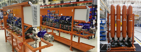 Die Ventilstände (li.) und die Speicherstände sind Teil eines gigantischen Auftrags mit über 550 Hydraulikeinheiten für ein Stahlwerk in Indien.